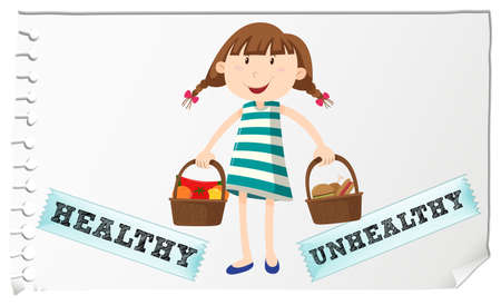 unhealthy: Basket with healthy and unhealthy food illustration
