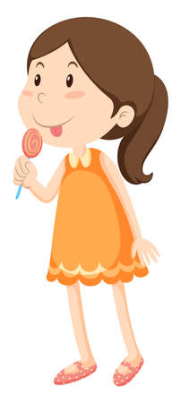 licking: Little girl licking candy illustration