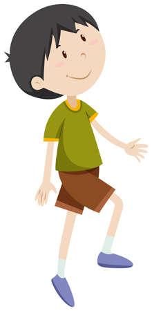 child walking: Boy having right leg up illustration Illustration