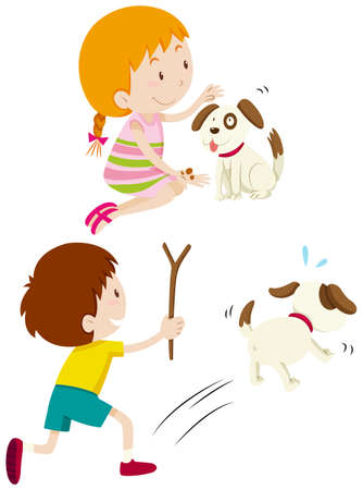 young girl: Girl feeding dog and boy chasing dog illustration
