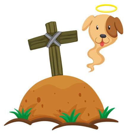 Dead dog burried under the ground illustration