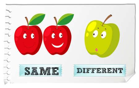 Adjetivos opuestos con igual y diferente ilustración