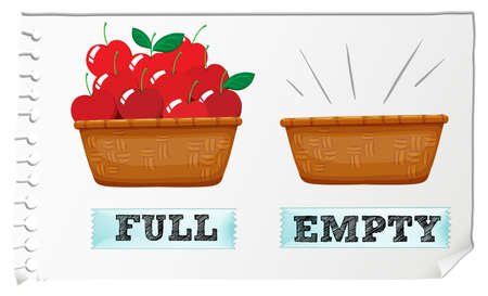 empty basket: Opposite adjective full and empty illustration Illustration