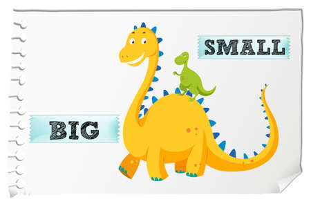 Opposite adjectives with big and small illustration Illusztráció