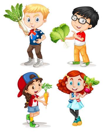 Boys and girls with fresh vegetables illustration Ilustração
