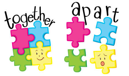 adjective: Jigsaw putting together and jigsaw being apart illustration Illustration