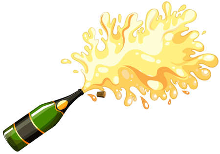 champagne celebration: Opened bottle of champagne illustration