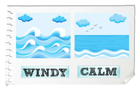 adjectives: Opposite adjectives windy and calm illustration