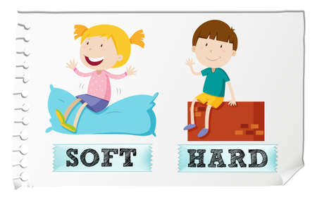 hard: Opposite adjectives soft and hard illustration Illustration