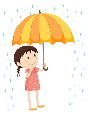girl in rain: Girl with umbrella in the rain illustration