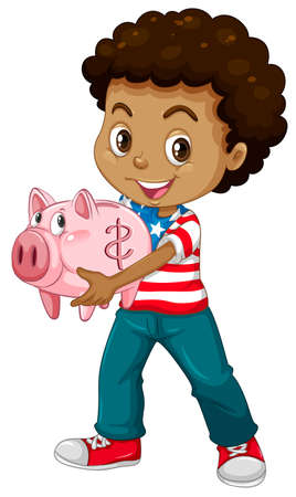 african american: African american boy and piggy bank illustration