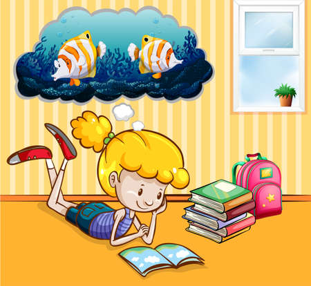 reading room: Girl reading books in the room illustration