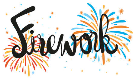 exploded: Firework exploded with text illustration