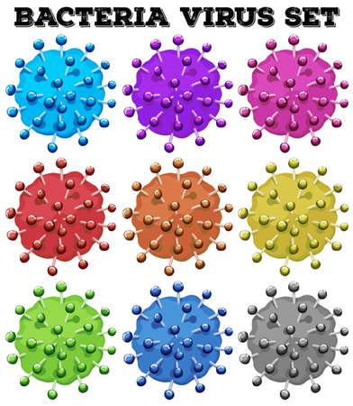 virus bacteria: Bacteria virus in many colors illustration Illustration