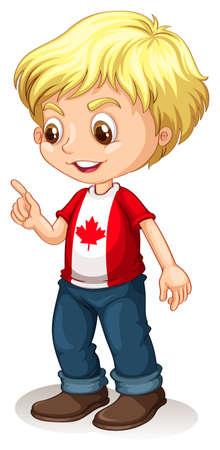 ethnicity happy: Canadian boy pointing finger illustration