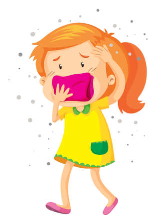 mouth cloth: Little girl with cloth over her mouth illustration Illustration