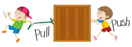 adjective: Boy pulling and pushing wooden box illustration