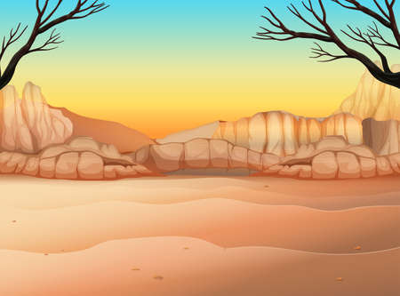 Nature scene with field and canyon illustration Vectores