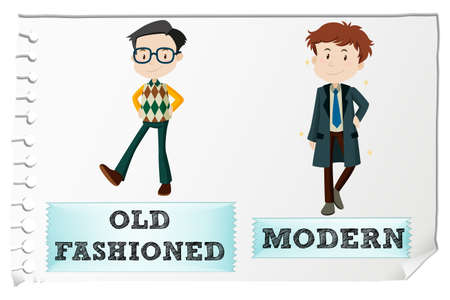 and opposite: Opposite adjectives with old-fashioned and modern illustration