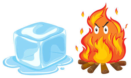 ice cube: Ice cube and fire illustration