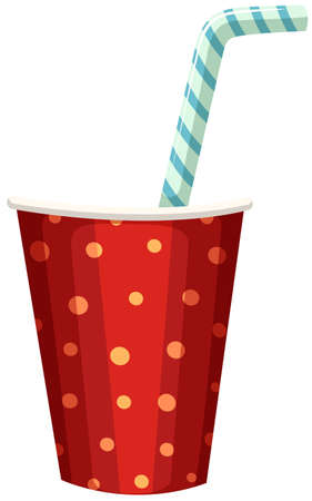 plastic straw: Party cup with straw illustration