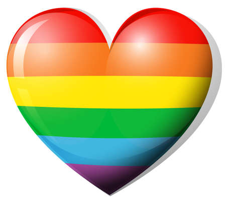 lesbian: Heart shape in rainbow color illustration