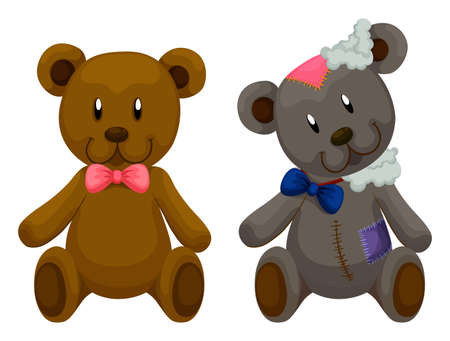 old and new: New and old teddy bears illustration Illustration