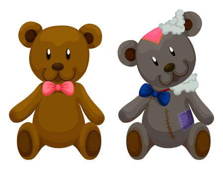 juguetes antiguos: Nueva y vieja osos de peluche ilustración