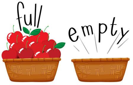 Cesta vacía y una cesta llena de manzanas ilustración