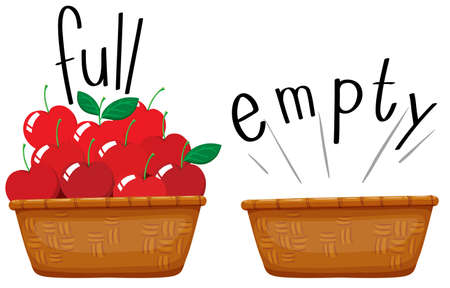 canastas con frutas: Cesta vacía y una cesta llena de manzanas ilustración