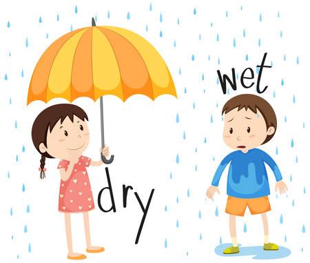 mojada: Enfrente de ilustración adjetivo seco y húmedo