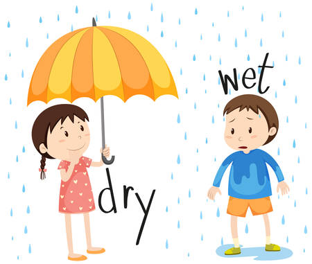is wet: Opposite adjective dry and wet illustration