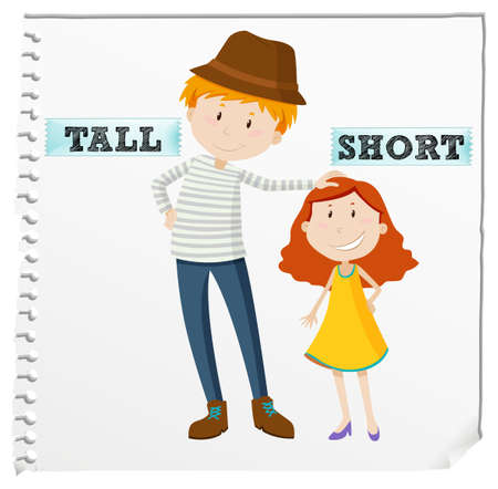 Opposite adjectives tall and short illustration Иллюстрация