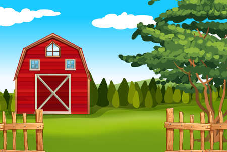 Farmland with barn on the field illustration Illustration