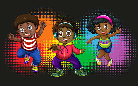 kid smile: African american children dancing illustration