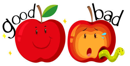 bad condition: Red apples in good and bad condition illustration