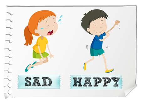 gente triste: adjetivos opuestos con la ilustraci�n triste y feliz