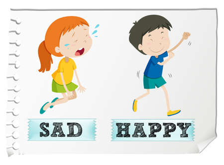 young boy smiling: Opposite adjectives with sad and happy illustration