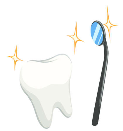 cleaned: Cleaned tooth and mirror illustration Illustration