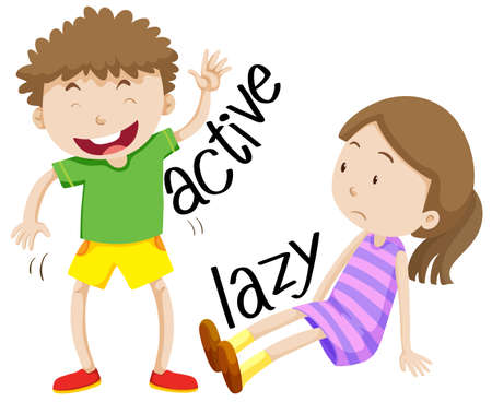 adjective: Active boy and lazy girl illustration