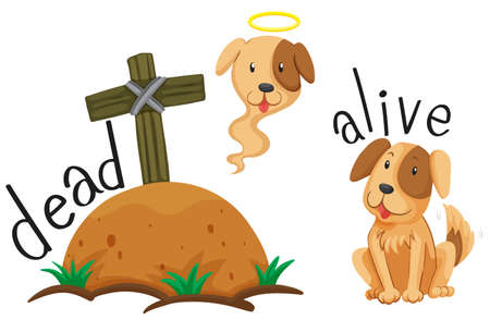 ground: Dead dog under the ground and dog alive illustration