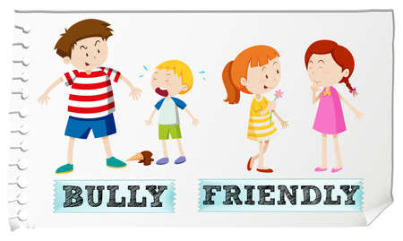 Opposite adjectives bully and friendly illustration Illustration
