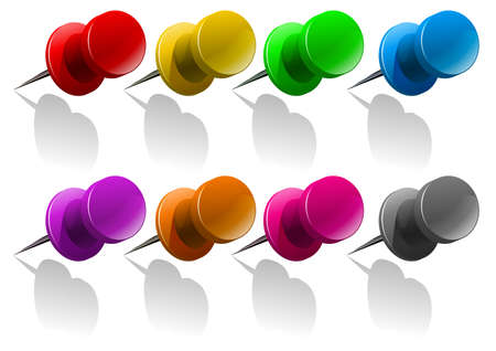 metal drawing: Metal pin in many colors illustration Illustration