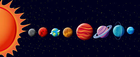 Planets in solar system illustration