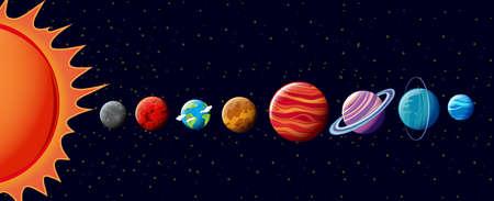 Planets in solar system illustration