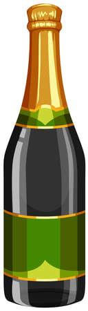 sparkling: Bottle of champagne with green label illustration