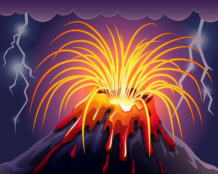 Volcano on thunderstorms night illustration