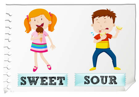 adjective: Opposite adjectives sweet and sour illustration