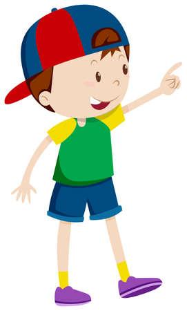 whie: Boy pointing at something illustration