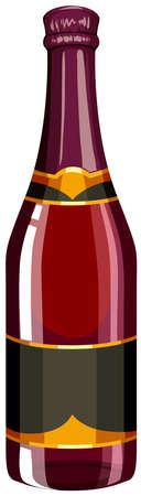 sektglas: Flasche Champagner in rote Farbe-Abbildung